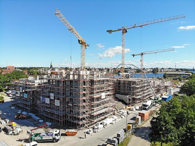 Baustelle der Wohnanlage Wiesbadenbrücke in Wilhelmshaven